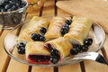 Blueberry blintzes freshly cooked or crepes Royalty Free Stock Images