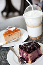 Blueberry cake and capuchino ice coffee Stock Image