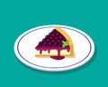 Blueberry cheese cake in 3D cartoon style, vector