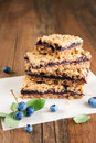 Blueberry crumb bars stack of oat Stock Photography