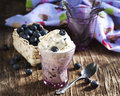Blueberry ice cream in lass cup Stock Photos