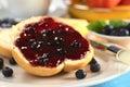 Blueberry Jam on Bun Royalty Free Stock Photos