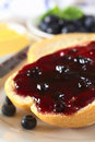 Blueberry Jam on Bun Royalty Free Stock Photography
