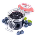 Blueberry jam fresh in a preserving glass Royalty Free Stock Images