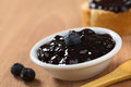 Blueberry jam with fresh on top selective focus focus on the fresh on the Royalty Free Stock Photo