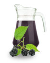 Blueberry juice in a jug on a white background Royalty Free Stock Photo