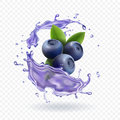 Blueberry juice Realistic Vector illustration. Royalty Free Stock Photo