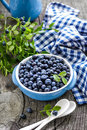 Blueberry with leaves in a bowl Royalty Free Stock Images