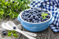 Blueberry with leaves in a bowl Stock Images