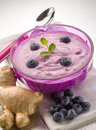 Blueberry mousse with yogurt Stock Images
