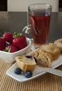Blueberry Muffin Breakfast with Tea Stock Image