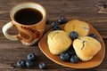 Blueberry muffin plate table Stock Photo