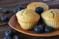 Blueberry muffin plate table Royalty Free Stock Photography