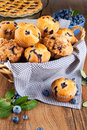 Blueberry muffins in a basket Stock Image