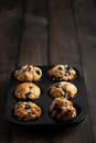 Blueberry muffins freshly baked in muffin pan served on dark wooden table moody lighting rustic and natural atmosphere Stock Image