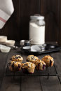 Blueberry muffins freshly baked served on cooling rack on dark wooden table moody lighting rustic and natural atmosphere Stock Photography