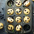Blueberry muffins in a pan Royalty Free Stock Photo