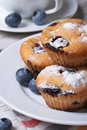 Blueberry muffins on a white plate and coffee vertical Royalty Free Stock Photo