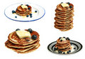 Blueberry pancakes isolated on white Royalty Free Stock Photos