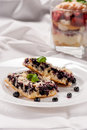 Blueberry pie bilberry hucklberry or cake on white plate Royalty Free Stock Images