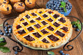 Blueberry pie close up of a with lattice topping Royalty Free Stock Photos