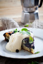 Blueberry pie homemade with whipped vanilla flavored cream Royalty Free Stock Images