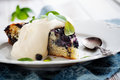 Blueberry pie homemade with whipped vanilla flavored cream Royalty Free Stock Photography