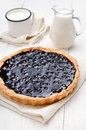 Blueberry pie and milk on white wooden table Royalty Free Stock Images