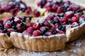 Blueberry pie with raspberries food close up Stock Photos