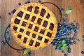 Blueberry pie top view of a Stock Photos