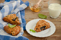 Blueberry scones with whole wheat flour selective focus Royalty Free Stock Photos