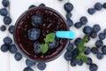 Blueberry smoothie fruit juice milkshake with blueberries fruits Royalty Free Stock Photo