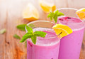 Blueberry smoothie with lemon and mint Stock Image
