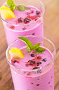 Blueberry smoothie with lemon and mint Stock Photos