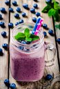 Blueberry smoothie in mason jar Royalty Free Stock Photo