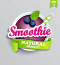 Blueberry smoothie sticer. Royalty Free Stock Photo