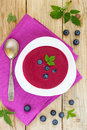 Blueberry soup with cream. Royalty Free Stock Photo