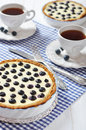 Blueberry tart with cup of tea on checkered background Royalty Free Stock Image