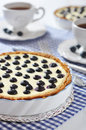 Blueberry tart with cup of tea on checkered background Stock Photo