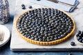Blueberry tart with vanilla custard Marble board Royalty Free Stock Photo