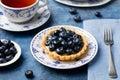Blueberry tartlet, pie, tart with vanilla custard. Blue stone background Royalty Free Stock Photo