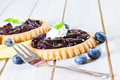 Blueberry tarts on wooden board Stock Image