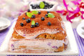 Blueberry tiramisu cake delicious with fresh fruits and mascarpone cheese Stock Photos