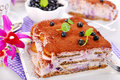 Blueberry tiramisu cake delicious with fresh fruits and mascarpone cheese Royalty Free Stock Image