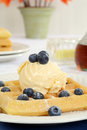 Blueberry vanilla ice cream waffles Stock Image