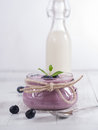 Blueberry yoghurt in a glass Royalty Free Stock Photography