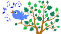 Bluebird illustration of a singing in a tree Royalty Free Stock Images