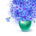 Bluebottle bouquet in vase vector greeting card with gentle green Stock Images