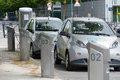 Bluecub electric car sharing recharging point in bordeaux france urban Stock Photo