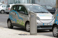 Bluecub electric car sharing recharging point in bordeaux france urban franc Stock Images